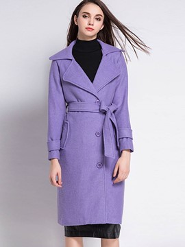 Ericdress Notch Lapel with Belt Straight Trench Coat