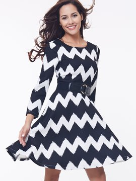 Ericdress Wave Cut Round Neck Casual Dress