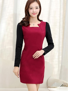 Ericdress Color Block Patchwork Square Neck Long Sleeve Bodycon Dress
