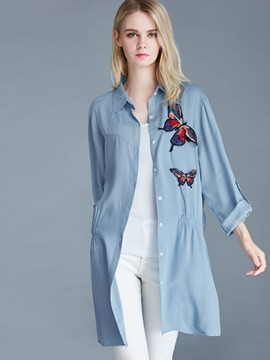 Ericdress Loose Butterfly Embroidery Pleated Plus Size Blouse