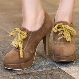 Ericdress Suede Round Toe Platform Lace up Pumps