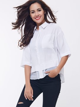 Ericdress White Mesh Patchwork Half Sleeve Blouse