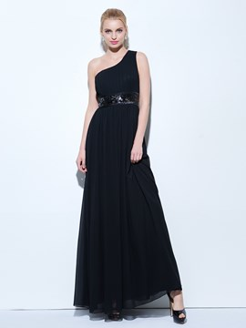 Ericdress A-Line One-Shoulder Draped Sequins Floor-Length Evening Dress