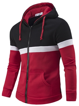Ericdress Color Block Hood Zip Casual Men's Hoodie