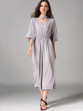 Ericdress Simple Solid Color Loose Jumpsuits Pants