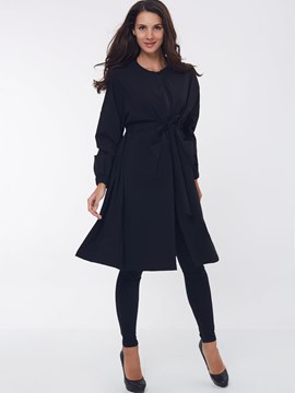 Ericdress A Line Lace-Up Plain Coat