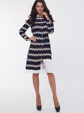 Ericdress Single-Breasted Lapel Casual Dress