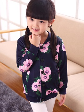 Ericdress Floral Printed Thread Patch Snap Fastener Girls Outerwear