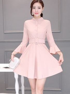 Ericdress Solid Color Flare Sleeve A-Line Lace-Up Casual Dress