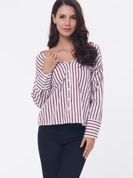 Ericdress Loose Stripped Cross Back Slash Blouse