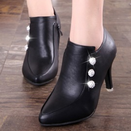 Ericdress Rhinestone Point Toe High Heel Boots