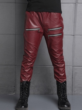 Ericdress PU Leather Metal Zipper Slim Boys Bottom