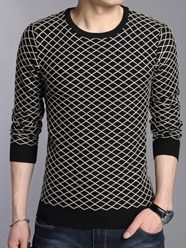 Ericdress Plaid Crew Neck Vogue Men's Sweater