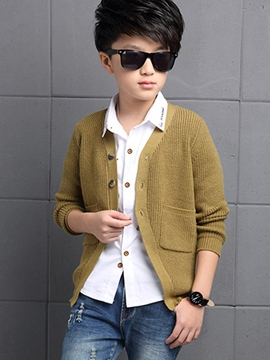 Ericdress Knitting Vertical Stripes Cardigan Boys Top
