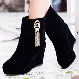 Ericdress Suede Tassels Wedge Ankle Boots