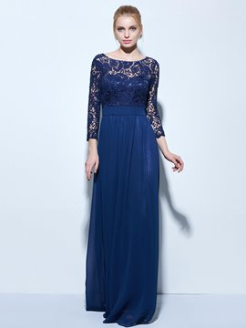 Ericdress A-Line Bateau 3/4 Length Sleeves Lace Floor-Length Evening Dress