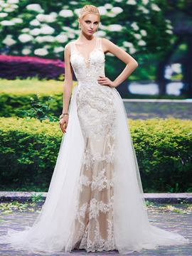 Ericdress Beautiful V Neck Appliques Mermaid Wedding Dress