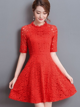 Ericdress Plain Half Sleeve Expansion Lace Dress