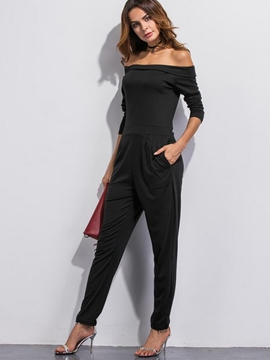 Ericdress Solid Color Slash Neck Jumpsuits Pants Suit