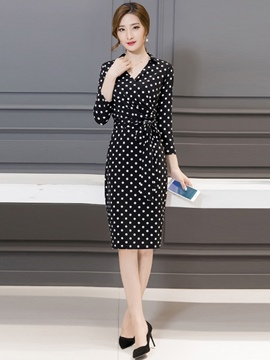 Ericdress Polka Dots V-Neck Sheath Dress
