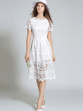 Ericdress Solid Color Round Neck Short Sleeve Lace Dress