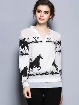 Ericdress Loose Animal Printed V-Neck Blouse