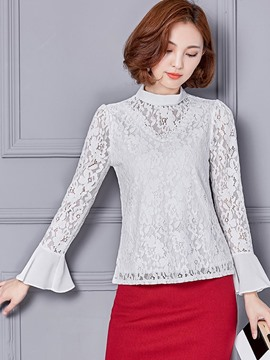 Ericdress Flare Sleeve Floral Crochet Blouse