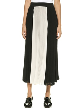 Ericdress Color Block Pleated Skirt
