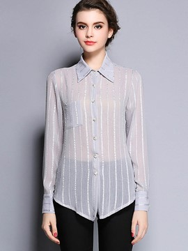 Ericdress Stripped Single-Breasted Slim Casual Blouse