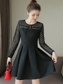 Ericdress Autumn Solid Color Hollow Casual Dress