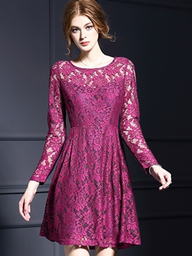 Ericdress Summer Long Sleeve Solid Color Lace Dress