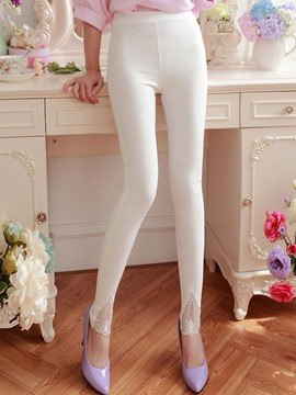 Ericdress Sweet Solid Color Leggings Pants