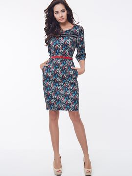 Ericdress Print Round Neck Three-Quarter Sleeve Sheath Dress