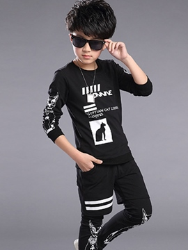 Ericdress Printing Tee Shorts Patchwork Two-Piece Boys Outfit