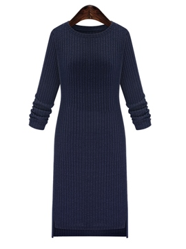 Ericdress Plain Round Neck Sweater Dress