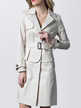 Ericdress Beige Belt Lapel Trench Coat