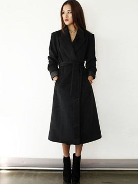 Ericdress Solid Color with Belt Trench Coat