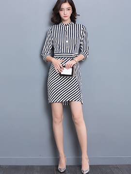 Ericdress Stripe Single-Breasted Bodycon Dress
