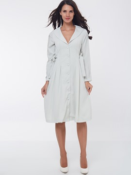 Ericdress Plain Single-Breasted Bowknot Casual Dress