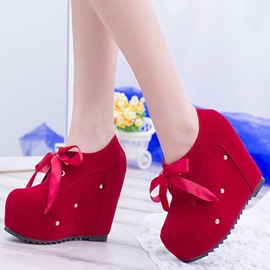 Ericdress Bright Round Toe Wedge Heel Ankle Boots