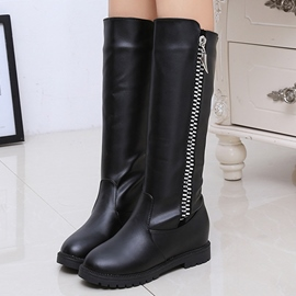 Ericdress PU Round Toe Side Zip Knee High Boots