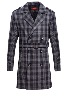 Ericdress Double-Breasted Plaid Belt Men's Trench Coat