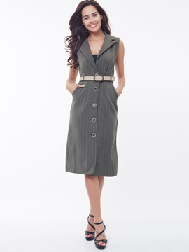 Ericdress Slim Stripped Belt Jacket