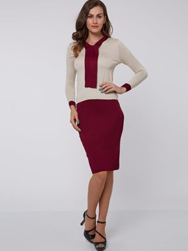 Ericdress Color Block Long Sleeve Bowknot Collar Sheath Dress Suits
