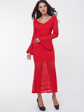 Ericdress Solid Color V-Neck Flare Sleeve Maxi Dress