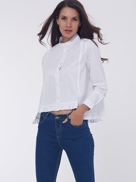 Ericdress Solid Color Loose Single-Breasted Frill Blouse