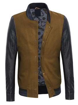 Ericdress Single-Breasted Patchwork Casual Men's Jacket