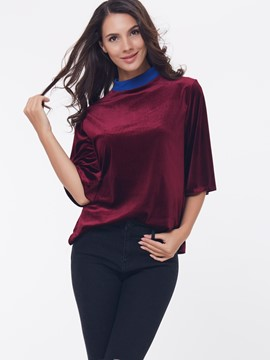 Ericdress Burgundy Half Sleeve Blue Collar T-Shirt