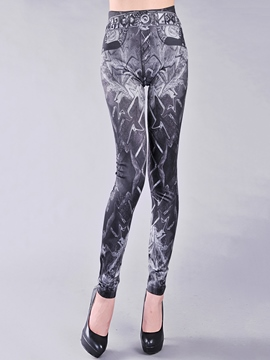 Ericdress Skinny Print Faux Jean Leggings Pants