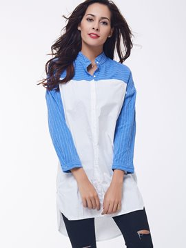 Ericdress Color Block Stripe Boyfriend Blouse